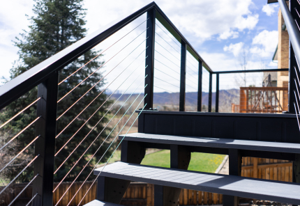 StoneCroft Steel Framed Stairs, Fortress Evolutions Framing, Cable Railing, Fortress Infinity Decking