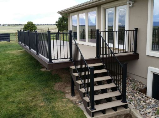 Deck Builder Falcon, Fortress Evolution Framing, StoneCroft Construction, StoneCroft Steel Frame Stairs, Trex Transcend Rope Swing Decking, Trex Transcend Vintage Lantern Decking, Fortress FE26 Railing, Deck installer Falcon Colorado, Composite Deck Falco