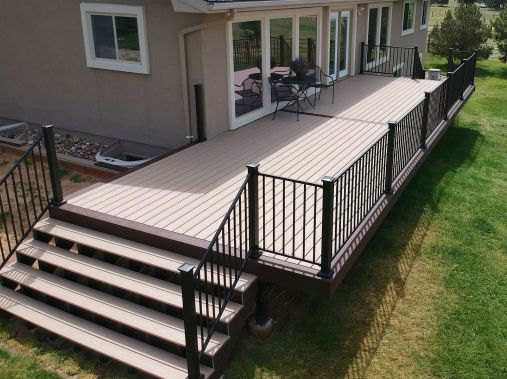 Falcon Deck Builder, Fortress Evolution Framing, StoneCroft Construction, StoneCroft Steel Frame Stairs, Trex Transcend Rope Swing Decking, Trex Transcend Vintage Lantern Decking, Fortress FE26 Railing, Deck Builder Falcon Colorado, Deck Intaller Falcon C