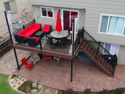 Colorado Springs Deck Builder, StoneCroft Construction, Fortress Evolution Steel Framing, Patio Lights, Trex Transcend Lava Rock Decking, StoneCroft Steel Frame Stairs