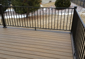 Metal Railing Installer Colorado Springs, Fortress Evolutions Steel Framing, FE26 Railing, Trex Transcend Decking, StoneCroft Steel Frame Stairs