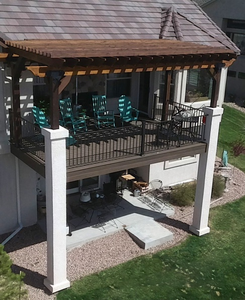 StoneCroft Construction, Colorado Springs Deck Builder, Cedar Pergola, Stucco Posts, Fortress Evolutions Framing, Trex Spiced Rum Decking