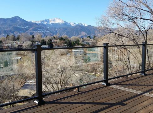 Glass Deck Railing Colorado Springs, Colorado Springs Glass Railing Installer, Fortress AL13 Glass Railing, StoneCroft Construction, Glass Deck Railing Installer Colorado Springs,