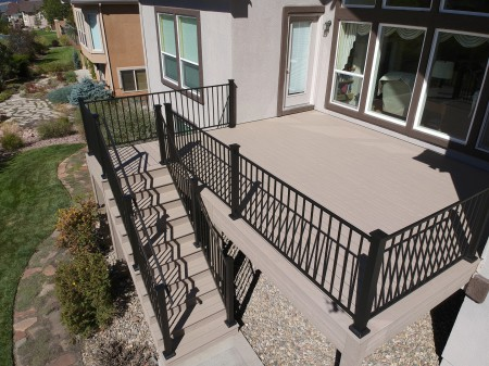 StoneCroft Construction, Deck Contractor Colorado Springs, Composite Decking, Fortress Evolution Steel Framing, Fortress Metal Railing, Trex Transcend Rope Swing Decking, StoneCroft Steel Frame Stairs