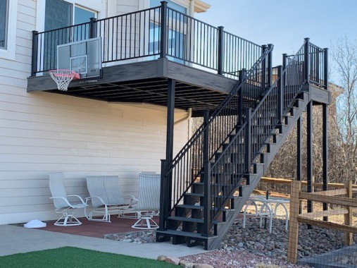 Colorado Springs Deck Construction, Trex Transcend Island Mist Decking, Fortress Evolution Steel Framing, Open Risers, StoneCroft Steel Frame Stairs
