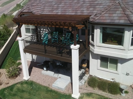 StoneCroft Construction, Cedar Pergola, OZCO Brackets, Fortress Railing, Fortress Evolutions Steel Deck Framing, Stucco Columns, Colorado Springs