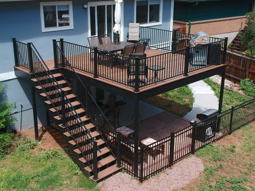 Colorado Springs Deck Builder, Fortress Evolution Steel Framing, FE26 Railing, Envision Decking, StoneCroft Steel Frame Stairs