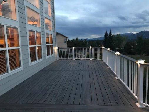 StoneCroft Construction, Colorado Springs Metal Deck, Fortress Evolution Steel Deck Framing, Fortress Aluminum Railing, Trex Transcend Island Mist Decking, Fortress Accents Lighting, Deck Builder Monument Colorado, Deck Contractor Monument Colorado, Compo