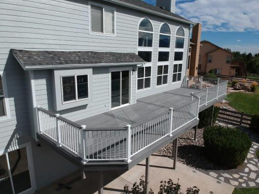 StoneCroft Construction, Fortress Evolutions Steel Framing, Fortress White Aluminum Railing, Trex Transcend Island Mist Decking, Deck Builder Monument Colorado, Deck Builder Palmer Lake Colorado, Deck Builder Woodmoor Colorado, Composite Deck Monument,